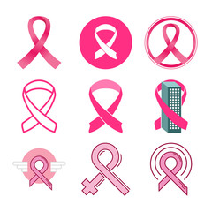 Breast Cancer Awareness Icon Symbol Design Illustration Graphic Package Set