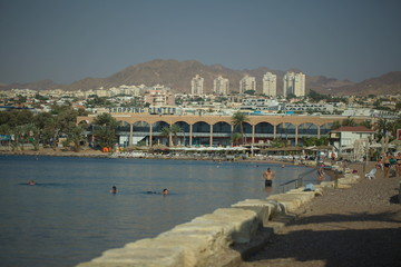 coastline city beach in Eilat Israel against the backdrop of local luxury hotels