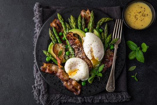 asparagus, avocado, poached egg and fried bacon  salad
