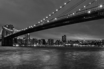 new york night view from brooklyn in black and white