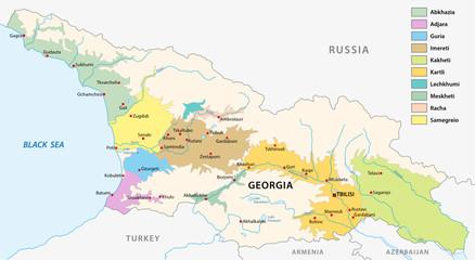 Wine producing regions of Georgia vector map.