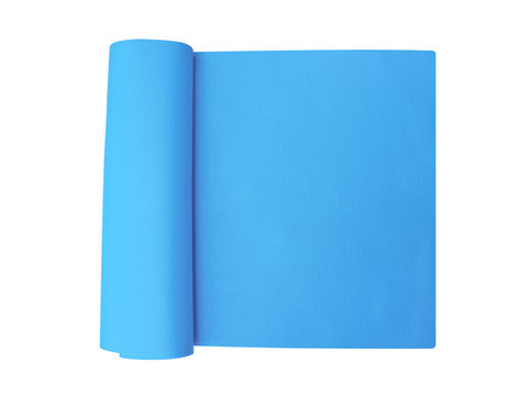 Top view blue yoga mat isolated on white background