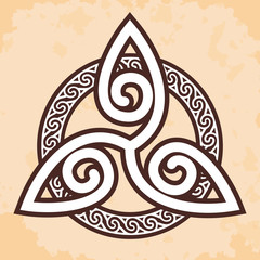 Celtic national ornament interlaced ribbon on a beige background with the effect of aging. Element for graphic design and tattoo.