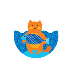 Cute orange red cat, fisher with big fish, blue sea, kitty character cartoon isolated vector illustration, greeting card