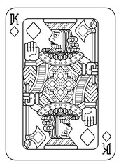 A playing card king of Diamonds in black and white from a new modern original complete full deck design. Standard poker size.