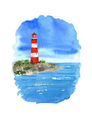 Watercolor lighthouse. Isolated objects on white background.