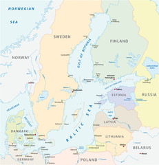 the detailed baltic sea area vector map