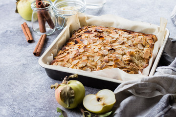 Homemade pies with apples and almond flakes. Norwegian Biscuit Pie on stone concrete table background. Scandinavia Kitchen. Copy space