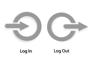 Paper Cut Icon : Log in and Out