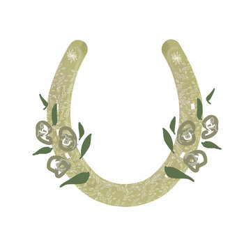 Horseshoe and floral pattern digital clip art. Vintage color engraving illustration for info graphic, poster, web. Isolated on white background.