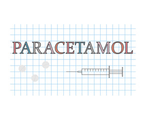paracetamol word on checkered paper sheet- vector illustration