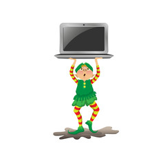 Funny New Year elf carrying a laptop