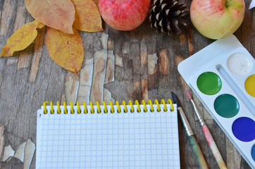 Education concept, school board, paintbrushes, pencils, leaves. paint watercolor multicolored, school time, creativity, inspiration