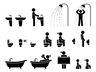 Restroom Signs Illustration. Set of toilet signs and pictograms. WC icons. Toilet labels.