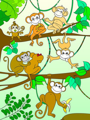 Family of monkeys on a tree color book for children cartoon raster