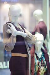 Mannequins standing in store window display of womens casual clothing shop in shopping mall