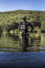 triathlon athlete prepared to train swimming