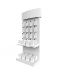 phone accessory display stand, retail display stand with hook for product , display stands isolated on white background. 3d illustration