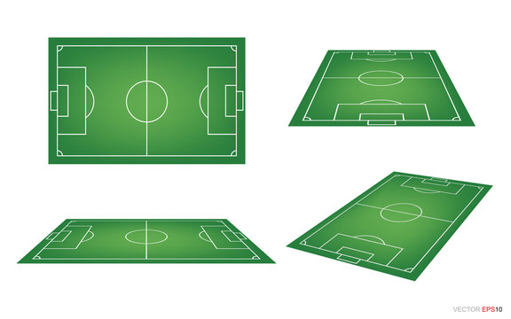 Set of soccer field or football field on white background. Perspective elements. Vector.