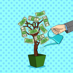 Style comics raster pop art. A mans hand pours a money tree with green dollars. Watering can with water.
