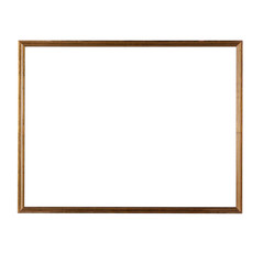 Delicate thin wooden frame isolated on white background.