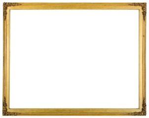 Simple thin wooden frame isolated on white background