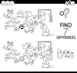 differences game with soccer animals color book