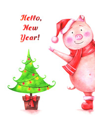 """hand drawn watercolor illustration of funny pig in red Santa hat, christmas tree and text """"Hello, New Year!"""" on white background. Winter greeting card"""