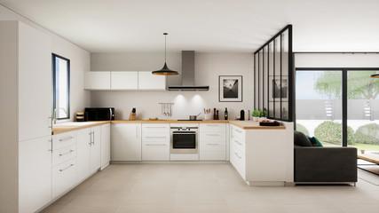 Vue 3d cuisine salon 16_02 Fototapete