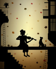 autumn melody for friend, silhouette dog and violinist in the city, autumn nostalgia,