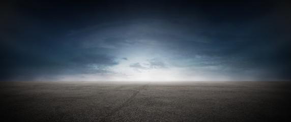 Asphalt Beton Strasse mit Wolken Himmel Horizont Panorama Fotobehang