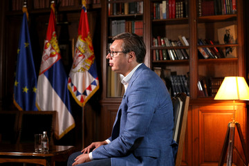 Serbian President Aleksandar Vucic speaks during an interview with Reuters in Belgrade, Serbia