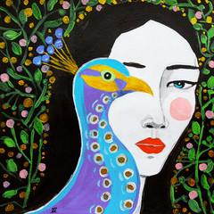 disegno donna con pavone