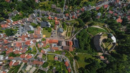 Luftbild Lindenfels und Burg im Odenwald