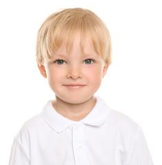 Cute little boy on white background