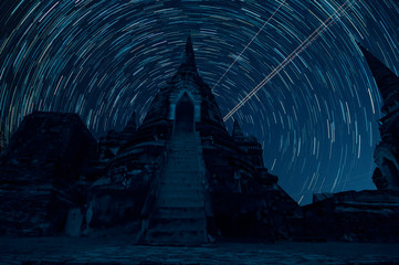 Ayutthaya Historical Park Watyaichaimongk Night landscape with colorful Star trail temple in Ayutthay Thailand.