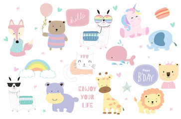 Cute pastel animal icon with fox,bear,llama,unicorn,lion,giraffe,hippopotamus,cat,elepahnt and rainbow