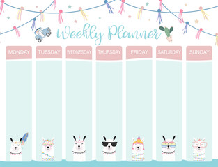 Pastel weekly calendar planner with llama,alpaca,cactus,glasses and car