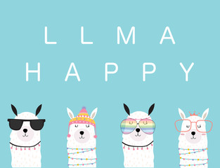 Blue violet hand drawn cute card with llama, glasses in summer.llama happy