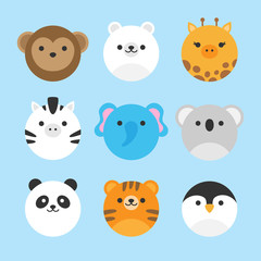 Cute vector icon set of zoo animals. Round animal illustrations; monkey, polar bear, giraffe, zebra, elephant, koala bear, panda bear, tiger and penguin. Isolated on baby blue background.