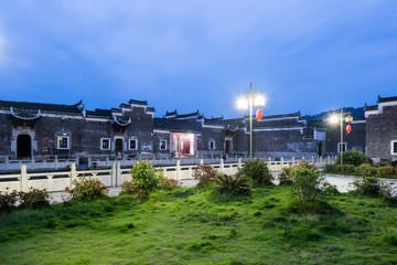 traditional ancient village at night