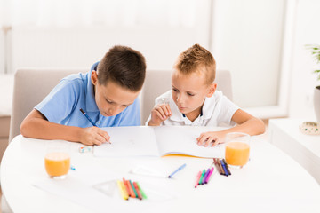 Young boys writing in notebooks at home