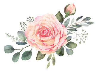 Watercolor floral composition with roses and eucalyptus