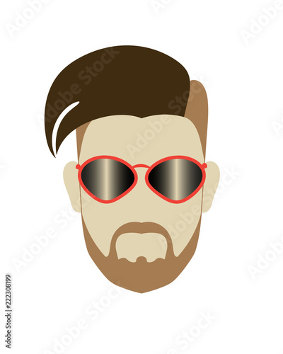 Hipster male head modern hairstyle moustache beard red sunglasses ...