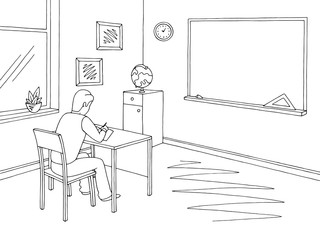 Classroom graphic black white school interior sketch illustration vector. Boy writing in a notebook at the lesson