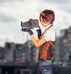 steampunk girl in vintage corset with retro camera