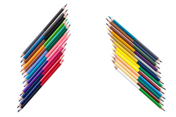 color pencil fence arrange isolated with white background
