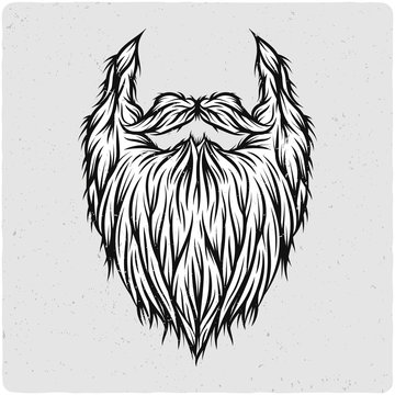 Long beard. Black and white illustration. Isolated on light backgrond with grunge noise and frame.