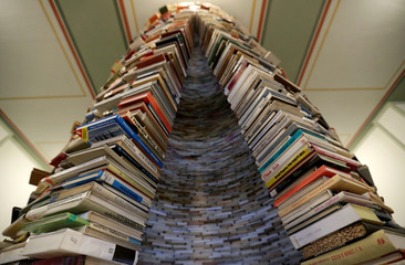 Books are seen piled up at the entrance of Municipal Library of Prague in Prague