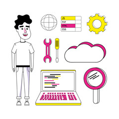 Set of coding cartoons